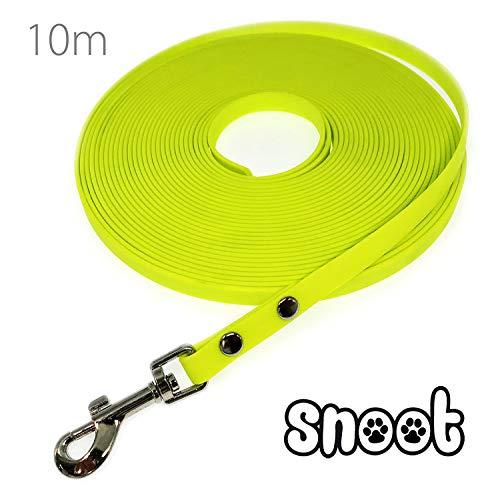 SNOOT Schmale Schleppleine 10m / 10mm - zugfeste, schmutz- und Wasserabweisende Hundeleine mit einem Karabiner - Neon-Gelb