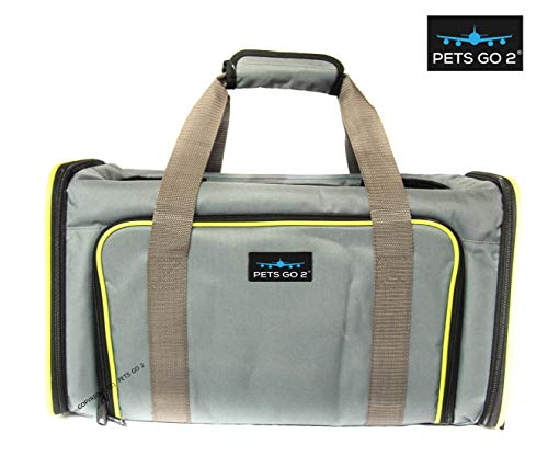 PETS GO2 Pet Carrier for Dogs & Cats   Best Airline-Approved Dog Travel Bag for Pet Safety & Security   Adjustable Carrier Size for a Small. Medium, or Large Dog, Cat, Bird, or Guinea Pig   Grey