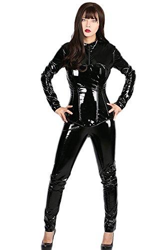 Halloween Costume Selene (Underworld Selene Catsuit Deluxe Black PU Tight Cosplay Costume)