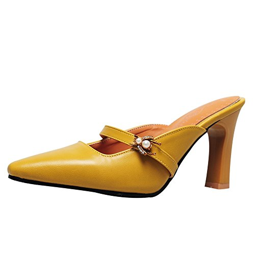 (Charm Foot Women's Vintage Mini Square Toe High Heel Mules Shoes (8.5, Ginger))