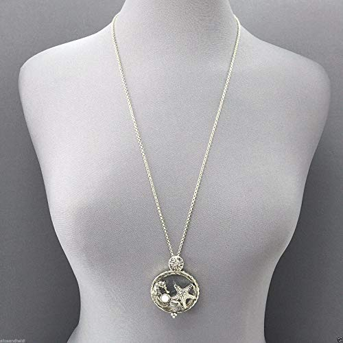 Long Silver Chain Sea Horse Starfish Sea Life Magnifying Glass Pendant Necklace LL-7701