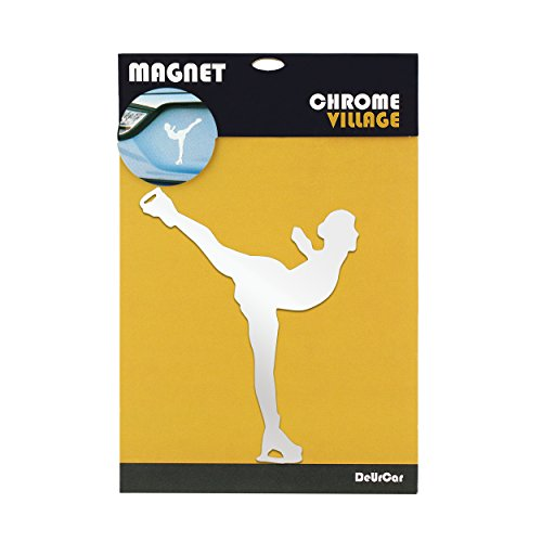 Figure Skating Sticker - ChromeVillage Magnetic Car Decal - basketball, football, golf, skating, soccer - Stylish Stickers for Car or Metal Surface - Chrome Reflective Magnetic Car Decals