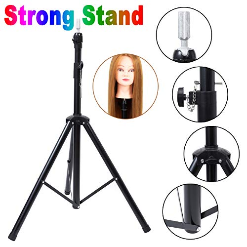 Metal Adjustable Tripod Stand Holder Mannequin Manikin Head Tripod for Hairdressing Cosmetology Enhanced Version Training Head Wig Stand with Carry Bag (Display Mannequin Head Stand)
