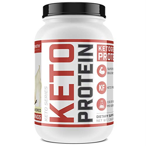 Low-Carb Ketogenic Protein Powder – 10.8g Muscle-Building Keto Protein in Every Scoop Vanilla Flavored, 1.36 lbs, New from Sheer Strength Labs