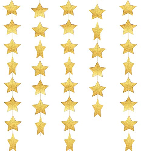 Gold Party Supplies Glitter Grand Paper Dots Star Streamers Hanging - 4 Pack 52 Feet for Bachelorette Party,Wedding, Birthday Party Decoration