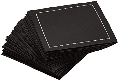 - Signature Napkins Cocktail Napkins, Reusable Luxury Cotton Beverage Napkins, 100-Pack, Black