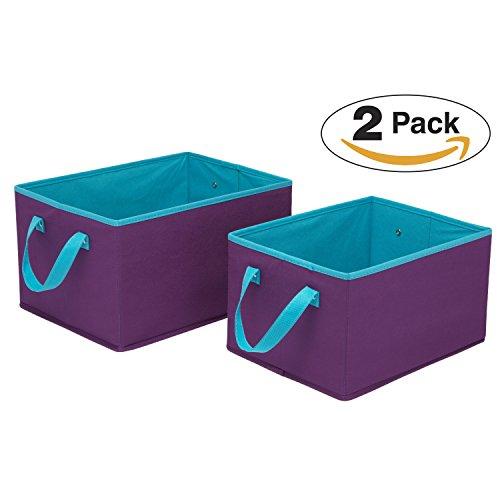 Delta Children Foldable Rectangle Storage Bins - Set of 2, Purple with Blue (Set Bins Storage Folding)