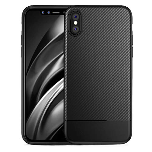 mtzhou iPhone X Case iPhone Xs Case iphone10 Slim Fit Carbon Fiber Shock Proof Dust Premium TPU Full-Body Protective Anti-Scratch Cover Thin Phone Case Compatible with iPhone X XS(Black)