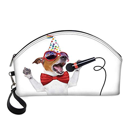 Popstar Party Small Portable Cosmetic Bag,Jack Russel Dog with Sunglasses Party Hat and Bowtie Singing Birthday Song Decorative For Women,One size