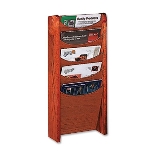 Buddy Products Solid Oak 5 Pocket Literature Display Rack, 3.75 x 24 x 11 Inches, Medium Cherry (0611-17)