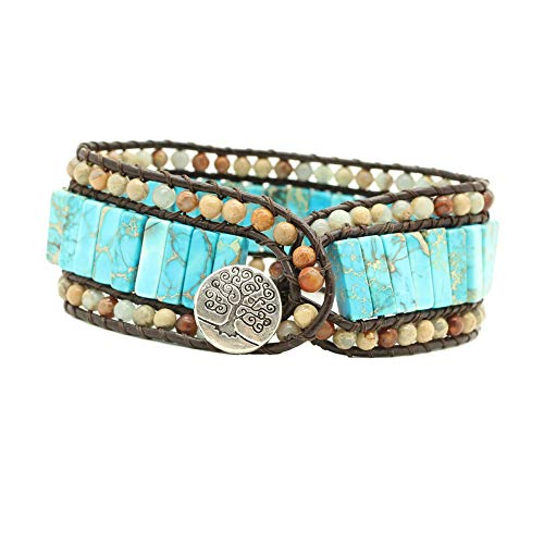 (Bonnie Leather Bead Warp Bracelet Tube Jasper Beaded Stone Handmade Snakeskin Gemstone Jasper Leather Cuff Bracelet Single Wrap (4x13mm Tube Jasper))