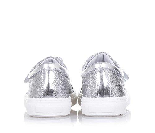 CIAO BIMBI - Silberner Schuh aus Leder mit Glitzern, in jedem Detail gepflegt, Stil, Qualität, Mädchen Silber