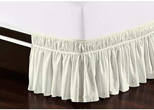 Wrap Around Bed Skirt 100/% Cotton Elastic Ruffle Three Sides Fabric Dark Grey