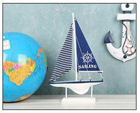 Labu Store Home Decor Wood White Sailboat Figurines Mediterrean Style Wooden Stripe Ship Home Office Desktop Miniature Marine Sailing Boats