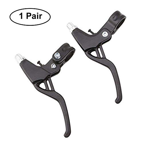 Bicycle Brake Levers 2pcs Mountain Bike Brake Handles 4 Finger 2.2cm Diameter for Most Bicycle, Road Bike, MTB, BMX, Cycling (Aluminum Alloy, Black)