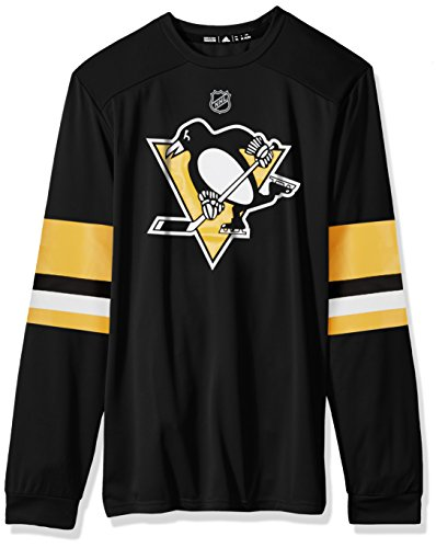 (adidas NHL Pittsburgh Penguins Mens Silver L/s Jersey Teesilver L/s Jersey Tee, Black, 4X-Large)