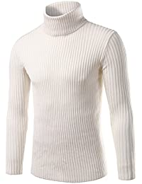 Men's Solid Slim Fit Pullover Sweater Turtleneck Striped Knit Wear White