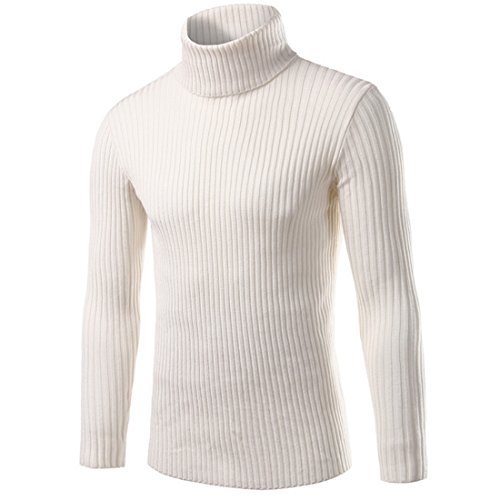 [Mada Men's Solid Slim Fit Pullover Sweater Turtleneck Striped Knit Wear Asian XXX-Large White] (Sweaters Sale Cable Turtleneck Sweater)
