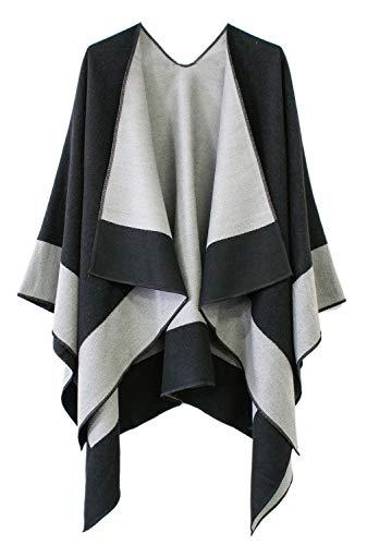Women's Open Front Color Block Reversible Wrap Shawl Poncho Cape