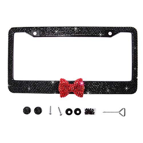 Handmade Waterproof Black Frame W/Red Bowknot Bling Crystal License Plate Frame Cute Rhinestone License Plate Holder for Cars/SUV/Truck