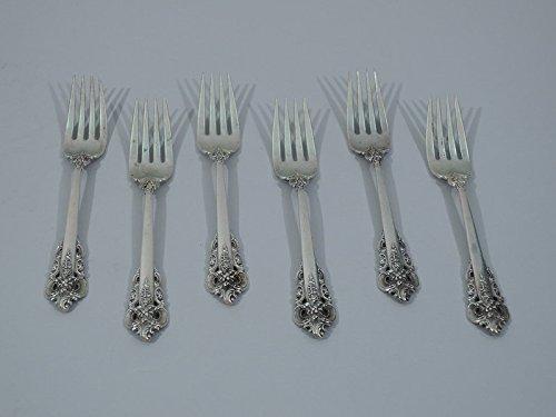 Set of 6 Wallace Grande Baroque Sterling Silver Salad Forks