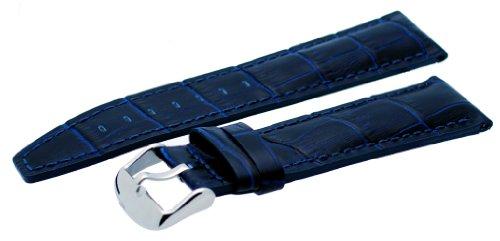 Blue Genuine Alligator Watch - Rev #ITAL224 24mm Navy Blue Alligator-Embossed Genuine Leather Watch Band