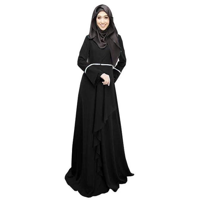 02c967697735 XFentech Abito Donna Musulmano - Elegante Abito di Lungo Maniche Petalo - M  Nero