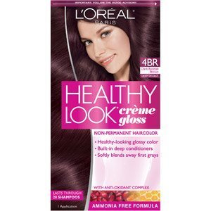 L'Oreal Healthy Look Creme Gloss Hair Color 4Br Dark Red Brown Cherry Chocolate, 1 ct (Pack of -