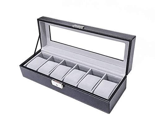 Sodynee Watch Box Large 6 Mens Black Pu Leather Display Glass Top Jewelry Case Organizer