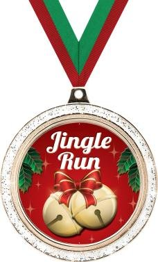 CHRISTMAS MEDALS - 2'' Silver Glitter Jingle Run Medal 50 Pack by Crown Awards