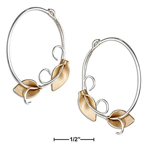STERLING SILVER AND 12 KARAT GOLD FILLED CALLA LILY HOOP EARRINGS