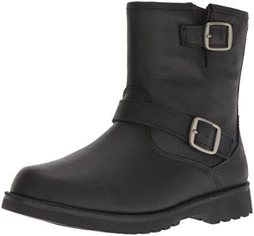 Leather Boots For Girls (UGG Unisex-Kids K Harwell Motorcycle Boot, Black, 2 M US Little)