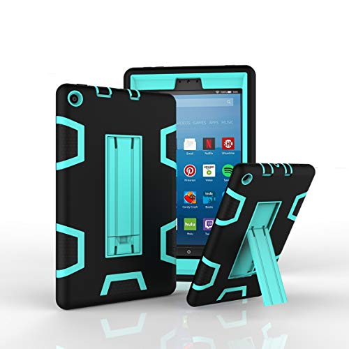Amazon Kindle Fire 8 Inch 2017 Case Bumper Cover Ultra Slim &Thin Hard PC Cover Body Protective Back Case Shell Non-Slip Case with Excellent Shockproof Cover Phone Protector Case,Black + Aqua
