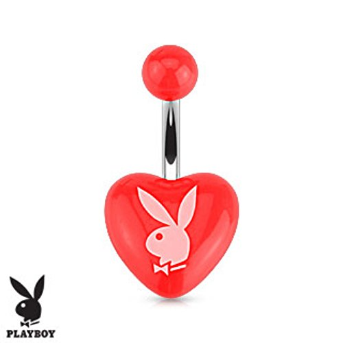 (Playboy Bunny Printed Heart Acrylic 316L Surgical Steel Navel Ring (Sold by Piece) )