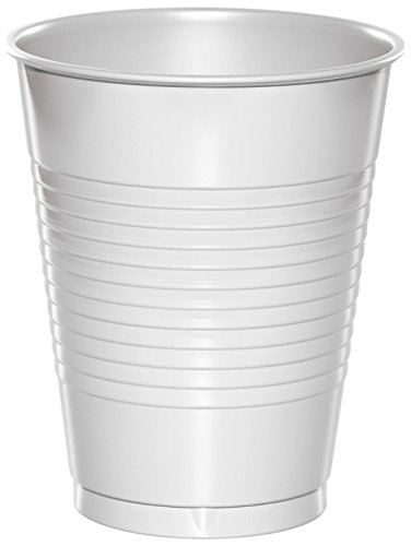 Creative Converting Value Pack Plastic Cups, White, 50-Count
