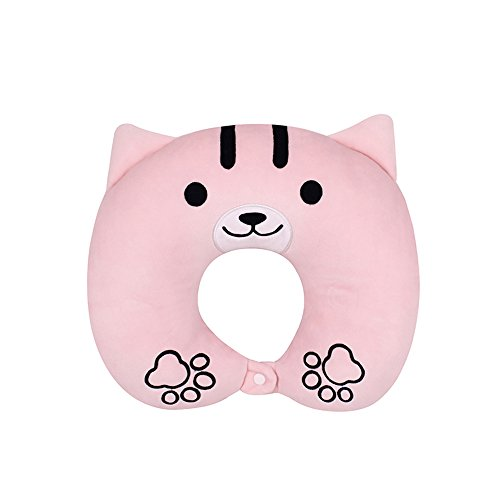 Rain's Pan Cute Pink Cat Stuffed Plush Animal U-Shape Pillow Neck Pillow Sleeping Pillow by Rain's Pan Pillows