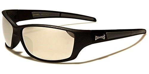 Black Mirror Lens Choppers Carbon Fiber Print Frames Men'S Wrap - Elements Carbon Sunglasses