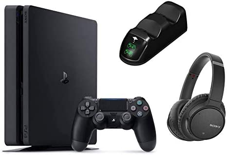 Playstation 4 PS4 Slim 1TB Console Holiday Bundle Noise Cancelling Headphones WHCH700N Wireless Bluetooth Over The Ear Headset W/Ghost Manta Charging Station Dock