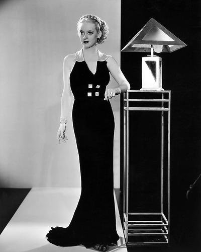 - Bette Davis 11x14 Promotional Photograph Striking 1930's Fashion B/W Pose by Art Deco Lamp