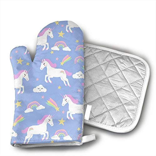 Rainbow Clouds Stars Cute Girls Unicorn Kitchen Oven Mitts,Professional Heat Resistant Microwave BBQ Oven Insulation Thickening Cotton Gloves Baking Pot Mitts Soft Inner Lining Kitchen Cooking