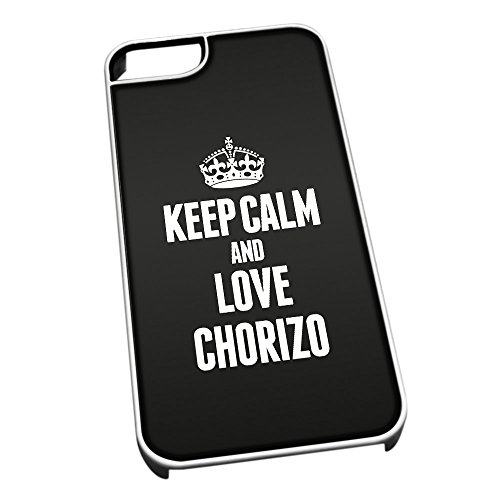 Bianco cover per iPhone 5/5S 0959nero Keep Calm and Love Chorizo