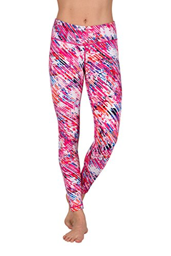 ae7f673ad9e38 90 Degree By Reflex Peachskin Brushed Printed Leggings - Yoga Pants -  Stained Glass Pink -