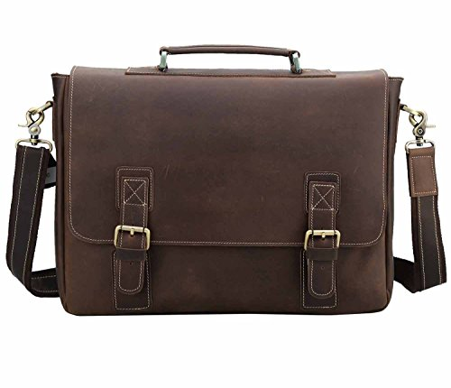 Polare Vintage Genuine Leather Tote Briefcase Professional 16'' Laptop Shoulder Messenger Bag (Dark Brown) by Polare