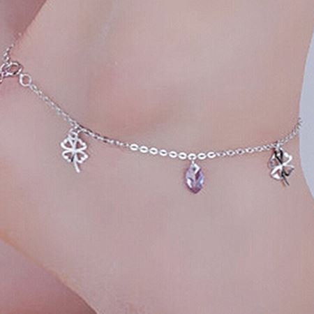 - usongs Sterling Silver Amethyst summer and flower Foot Chain anklet foot chain delicate and elegant Valentine's Day gift