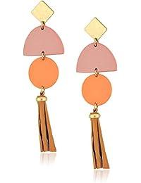 Womens Leather Tassel Earrings
