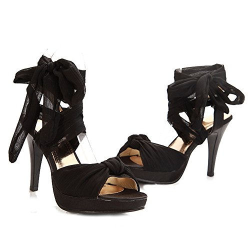 Strap Sexy Ankle Lace Black Summer Women's Up Sandals LongFengMa Shoes wv1qHpA6W