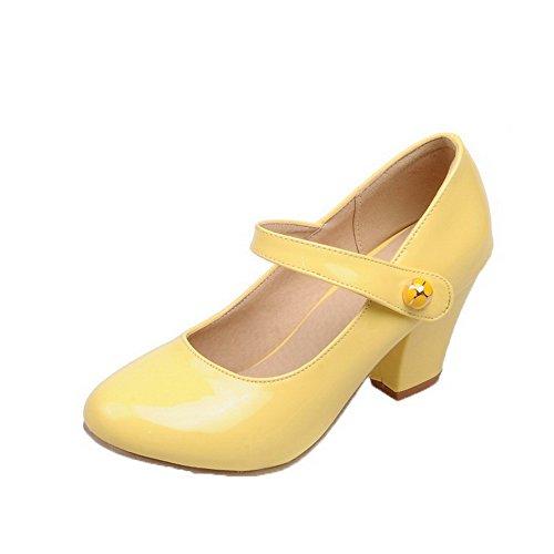 Femme à AgooLar Correct Couleur Rond Légeres Chaussures Jaune Verni Unie Velcro Talon AqdnnwBT