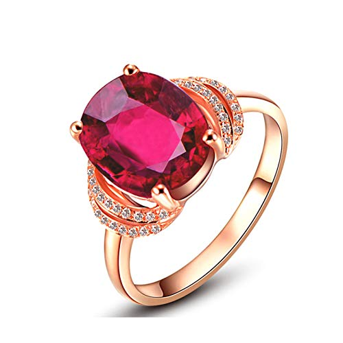AMDXD Jewelry Promise Ring 18K Gold Oval Shape Tourmaline Rings Rose Gold Size 4.5