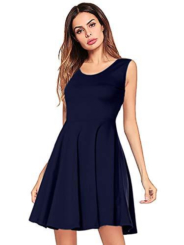 Amoretu Women Summer Beach Short Casual Sleeveless Tank Dress (Navy Blue, Medium)