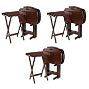 """Winsome Wood 94577 Lucca Snack Table, 22.83"""" W x 25.79"""" H x 15.67"""" D, Brown (Pack of 3)"""
